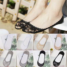 Women Lady Girl Socks Summer Invisible Low cut ankle Boat Lace Short Socks