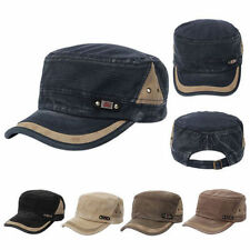 Men Vintage Snapback Commander Hat Army Plain Cadet Military Baseball Sports Cap