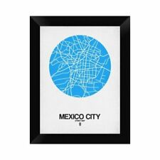 Naxart 'Mexico City Street Map' Framed Graphic Art Print on Canvas in Blue