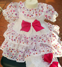 DREAM BABY WHITE FUCHSIA HEART BOW DRESS & KNICKERS 0-3 3-6 6-12 12-18 OR REBORN