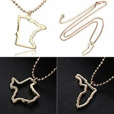 Gold Tone USA State Map Pendant Necklace Beaded Chain Women Family Gift Jewelry