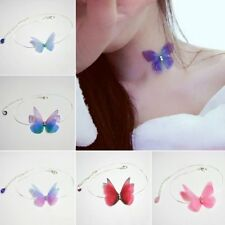 Fashion Colorful Butterfly Invisible Fishline Neck Choker Necklace Women Jewelry