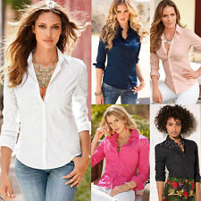 New Blouse Womens Ladies Casual Shirt Ladies Slim Fit Long Sleeve Cotton Top t63