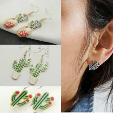 Fashion Gold GP Enamel Cactus Drop/Dangle Ear Earrings Stud/Hook Women Jewelry