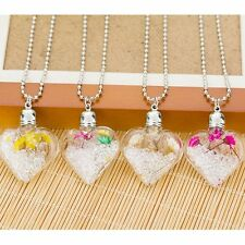 Natural Real Dried Flower Crystal Heart Glass Locket Pendant Necklace Bead Chain