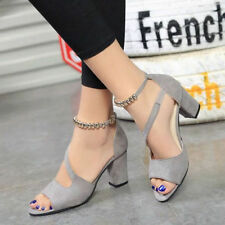 Women Block High Heels Pumps Open Toe Sandals Pumps Strap Ankle Chunky Shoes