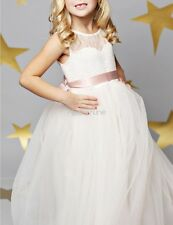 Girls White Lace Tulle Dress Princess Pageant Wedding Bridesmaid Communion Gown