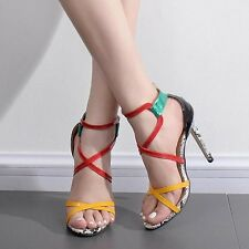 Womens Ankle Strap Open Toe Sandals Ladies Stiletto High Heels Party Pumps Shoes