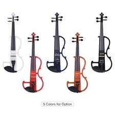 ammoon Full Size 4/4 Solid Wood Electric Silent Violin Fiddle with Tuner B9J2