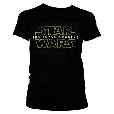 Official Womens Star Wars VII The Force Awakens Black Fitted T-Shirt Tee - New