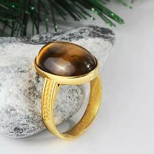Pinky Ring for Men in SOLID 14K GOLD with NATURAL TIGERS EYE Gemstone