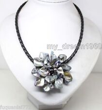 Fashion Women's Black Shell A Flower Pearls Crystal Leather Bib Necklace 18""