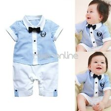 Kids Baby Boy Striped Gentleman Romper Jumpsuit Bodysuit Clothes Outfits Bow Tie