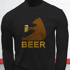 BEER BEAR FUNNY DRINKING PARTY DRUNK HUMOR LIT Mens Black Long Sleeve T-Shirt