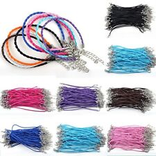 Wholesale 10/50/100pcs Lots Braided Rope Charm Leather Bracelet Many Colors CHIC