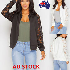 AU Women Long Sleeve Lace Cardigan Zipper Jacket Coat Casual Cover Up Cape Tops