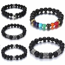 Vintage Silver Skull 7 Chakra Lava Stone Buddha Beaded Bangle Bracelet Women Men