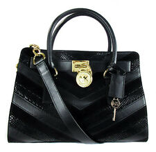 MICHAEL KORS HAMILTON Chevron Black Leather E/W Satchel Bag Msrp $348