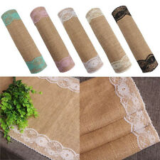 30*270cm Burlap and Lace Table Runner Embroidered Elegant for Wedding Decor LAUS