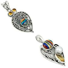 925 sterling silver rainbow calsilica pendant jewelry by jewelexi 5703A