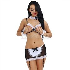 Hit Women Halloween Costume Cosplay French Maid Lace Babydoll Outfit Fancy Dress
