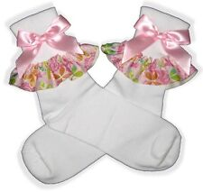 PINK Flower BOWS Ribbon Lacy Socks for Adult Little Girl Sissy Dress up LEANNE