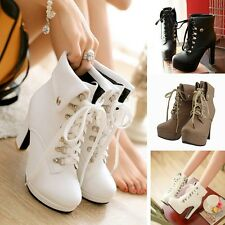 Women High Heel Lace Up Plush Lined Lady New Stilettos Shoes Booties Ankle Boots
