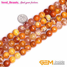 """Round Faceted Orange Crackle Agate Jewelry Making DIY Loose Beads Strand 15"""""""