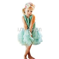 Flower Girl Princess Dress Kids Birthday Party Wedding Pageant Tulle Lace Dress