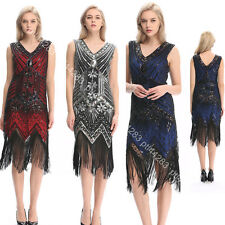 USA 20s 1920s Vintage Flapper Dress Gatsby Charleston Sequin Fringe Prom Costume