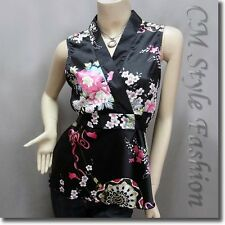 Japanese Kimono Sleeveless Floral Silky Satin Tank Top Black S/M/L/XL/2XL/3XL