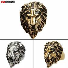 New Punk Gothic Rock Ring Lion Head King Stainless Steel Mens Rings Jewelry Gift
