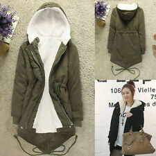 Womens Lady Winter Warm Thicken Fleece Hoody Long Coat Jacket Windbreaker