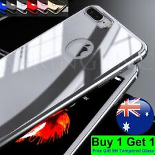 For iPhone 6 6s Plus Case Mirror Slim Full Body Hard Skin + Tempered Glass Cover