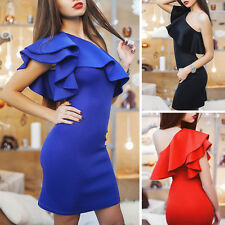 Women Lady Casual Dresses Bodycon One Shoulder Bodycon One Shoulder Mini Dress