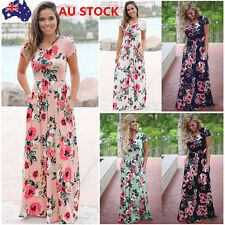 AU Women Floral Long Maxi Dress Summer Evening Party Beach  Sundress Plus Size