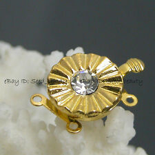 2 Strands yellow Gold Plated Crystal Clasp 14mm Findings