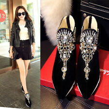 Womens Pointed Toe Pumps Wedge Heels Rhinestone Faux Suede Ankle Boots Casual