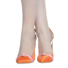 Plus Sz Womens High Heel Stilettos Pumps Mixed Color Pointy Bowknot Shoes Hollow