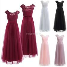 Womens Ladies Lace Chiffon Tulle Bridesmaid Long Dress Wedding Ball Gown Party