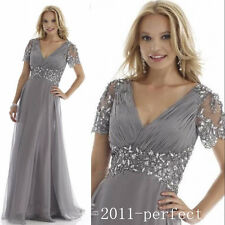 Grey Plus Size Mother of the Bride Dress Crystal Chiffon Short Sleeve Long Gown