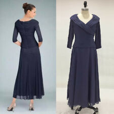 New Arrival Dark Navy Tea Length Mother of the Bride Dress A-Line V Neck Chiffon