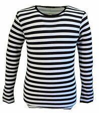 Mens Retro Mod 60s Indie Black & White Cotton Long Sleeved T Shirt