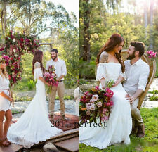 Bohemian Wedding Dress Romantic Country Boho Bridal Gown Summer Off Shoulder New