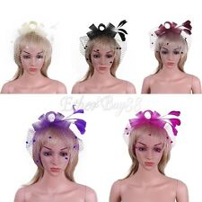 Women Kentucky Derby Fascinator Net Hairpin Feather Hat with Hair Clip for Party