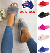 Women Faux Fur Slippers Slides Style Flat Sandals Slip On Shoes Home Flip Flops