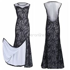 Womens Sexy Evening Dress Black Ball Gown Prom Party Long Floral Lace Cocktail