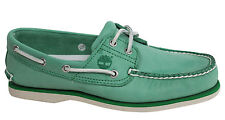 Timberland 2 Eye Classic Lace Up Mens Boat Shoes Green Leather A13NZ D132