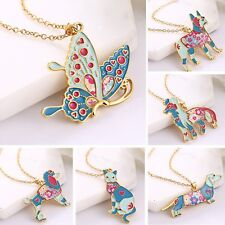 Fashion  Women Cute Colorful Animal Butterfly Cat Dog Pendant Necklace Jewelry