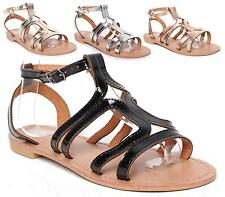 Ladies Gladiator Sandals Womens Flat Strappy OPEN TOE Summer Beach Shoes Size